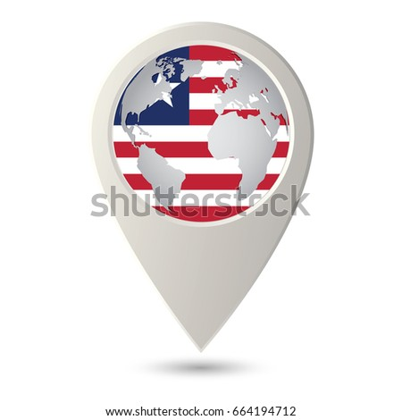 Liberia Flag Location Map Icon Check Stock Vector (Royalty Free ...