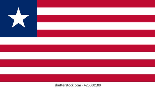 Liberia flag, official colors and proportion correctly. National Liberia flag. Vector illustration. EPS10.