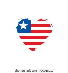 Liberia flag, vector illustration