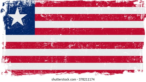 Liberia vector grunge flag isolated on white background.