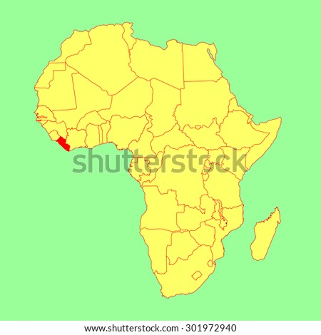 Liberia On Africa Map.Liberia Vector Map Isolated On Africa Stock Vector Royalty Free