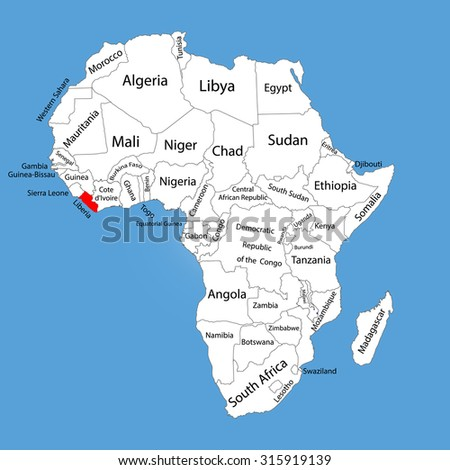 Liberia On Africa Map.Liberia Vector Map Silhouette Isolated On Stock Vector Royalty Free