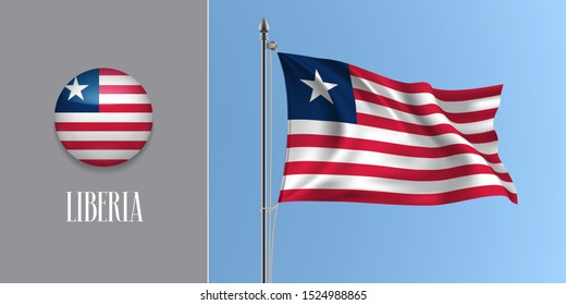 Liberia waving flag on flagpole and round icon vector illustration. Realistic 3d mockup with design of Liberian flag and circle button