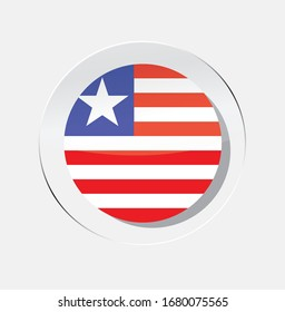 Liberian country flag circle icon with white background