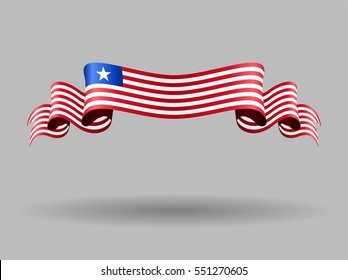 Liberian flag wavy abstract background. Vector illustration.