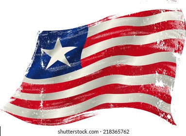 Liberian grunge flag. flag of Liberia in the wind with a texture