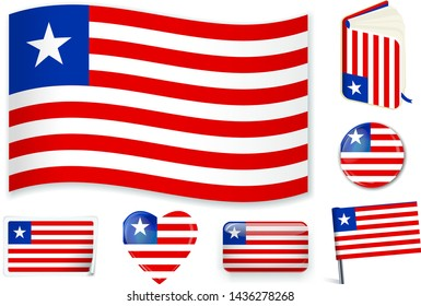 Liberian national flag. Vector illustration. 3 layers. Shadows, flat flag, lights and shadows. Collection of 220 world flags. Accurate colors. Easy changes.