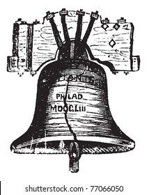 Liberty Bell, in Philadelphia, Pennsylvania, USA, vintage engraving. Old engraved illustration of the Liberty Bell showing crack. Trousset Encyclopedia