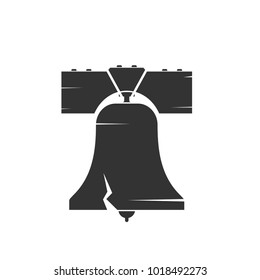 Liberty bell silhouette. Vector image isolated on white background