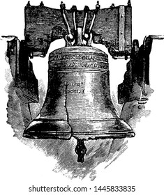 Liberty Bell vintage engraved illustration.