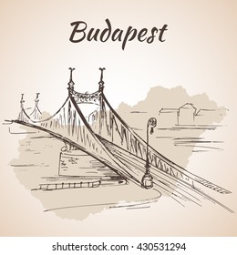 Liberty Bridge in Budapest, Hungary, connects Buda and Pest across the River Danube