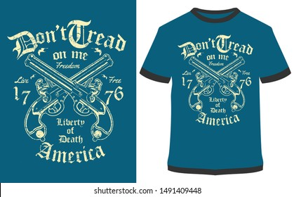 Liberty Of Death Vintage Vector graphic typographic design for poster, label, badge, logo, icon or t-shirt