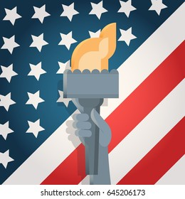 Liberty Statue Hand Holding Torch Over United States Flag Independence Day Holiday 4 July Banner Flat Vector Illustration