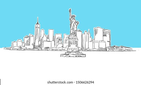Liberty Statue With New York City Skyline Panorama Vector Sketch. Hand-drawn Illustration on blue background.