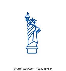 Liberty statue, new york line icon concept. Liberty statue, new york flat  vector symbol, sign, outline illustration.