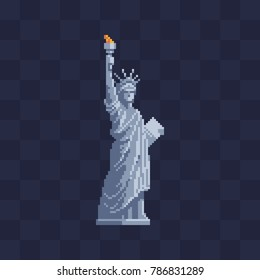 Liberty statue in New York United States. Pixel art icon. Symbol of country new york city. 8-bit. Knitting design. Isolated vector illustration.