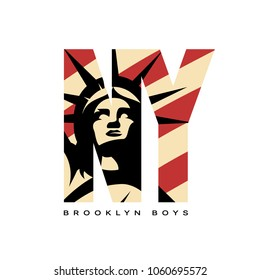 Liberty Statue vector logo concept isolated on white background. New York street wear modern sport badge design. Premium quality United States of America emblem t-shirt tee print illustration.