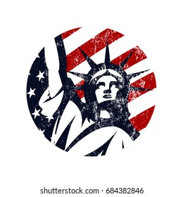 Liberty Statue vector logo concept isolated on white background. USA street wear superior sport modern badge design. Premium quality United States of America emblem t-shirt tee print illustration.