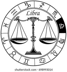libra astrological horoscope sign in the zodiac wheel. Black and white vector illustration