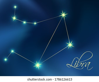Libra constellation astrology vector illustration. Stars in dark blue night sky. Libra zodiac constellations sign beautiful starry sky. Libra horoscope symbol made of gold star sparkles and lines.