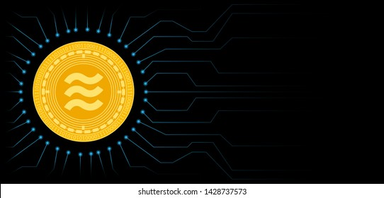 Libra cryptocurrency coin symbol. Blockchain technology. Gold Libra coin on black circuit board background. Vector illustration