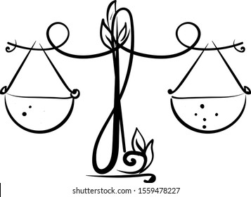 Libra drawing, illustration, vector on white background.