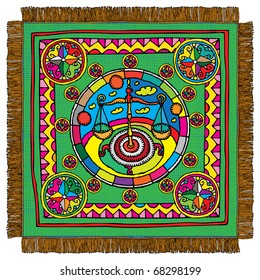 Libra horoscope sign carpet