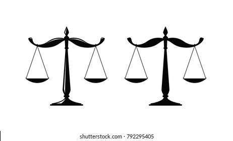 Libra, judicial scales logo. Notary, justice, lawyer icon or symbol. Vector illustration