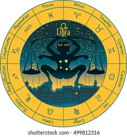 libra on the background urban night landscape and the starry sky in circle with the signs of the zodiac