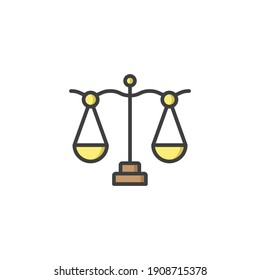 Libra, scale icon, color, line, outline vector sign, linear style pictogram isolated on white. Symbol, logo illustration