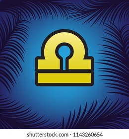 Libra sign illustration. Vector. Golden icon with black contour at blue background with branches of palm trees.