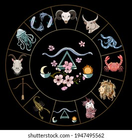 Libra vector of Astrology design.horoscope circle with signs of zodiac set vector.signs such as a aries, taurus, gemini, cancer, leo, virgo, libra, scorpio, sagittarius, capricorn,aquarius, pisces.