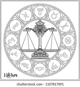 Libra, weigher Zodiac sign. Astrological horoscope collection. Outline vector illustration. Outline hand drawing coloring page for the adult coloring book.