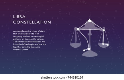 Libra zodiac constellation vector sign with silhouette. Modern poster design with place for text