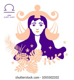 Libra of zodiac and horoscope concept, vector art and illustration. Girl. Beautiful girl silhouette. Astrological sign as a beautiful women. Future telling, horoscope, alchemy, spirituality, occultism