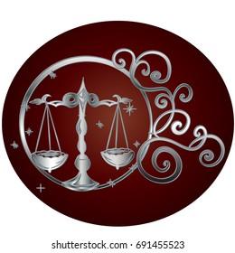Libra zodiac sign in circle frame, vector Illustration. Contour icon.