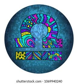 Libra zodiac sign. Constellation. Zentangle. Zodiac symbol. Libra. Grunge colorful logo. Horoscope. Astrology. Horoscope sign. Space. Birthday. Stars. Astronomy. Cosmic sign.