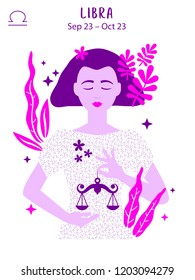 Libra zodiac sign. Girl vector illustration. Astrology zodiac profile. Astrological sign as a beautiful women. Future telling, horoscope, alchemy, spirituality, occultism, fashion