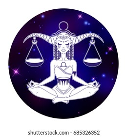 Libra zodiac sign, horoscope symbol, vector illustration
