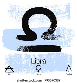 Libra. Zodiac sign pictogram. Calligraphic zodiac signs. Brush hand drawn. Vector illustration libra zodiac sign.