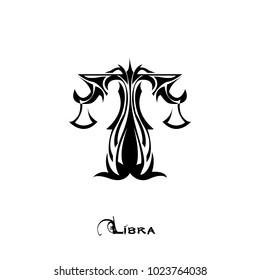 Libra zodiac sign tattoo art vector