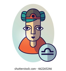 Libra zodiac sign. Vector illustration of horoscope. Girl portrait in a Libra character