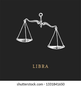 Libra zodiac symbol, hand drawn in engraving style. Vector graphic retro illustration of astrological sign Scales.