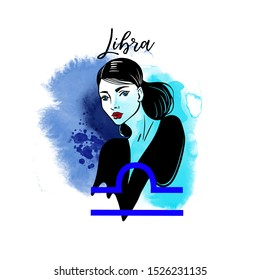 Libra-girl. Zodiac signs girl illustration.Vector sketch and watercolor background.
