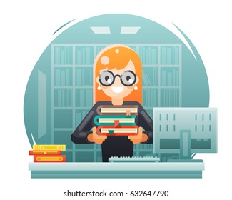 Librarian girl holding book knowledge education learning library bookshelves flat design vector illustration