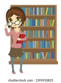 Librarian girl near bookcase. Clip art cartoon illustration on white background.