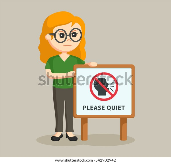 librarian girl with quiet sign