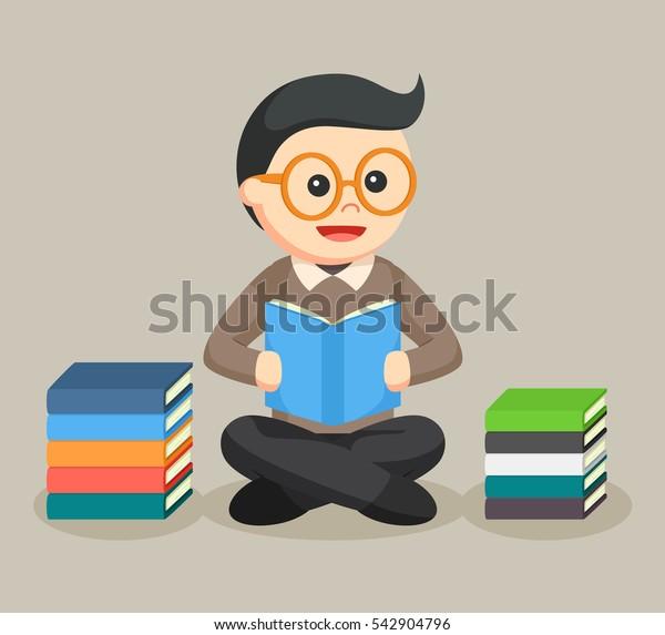 librarian male reading illustration design
