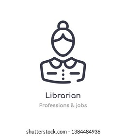 librarian outline icon. isolated line vector illustration from professions & jobs collection. editable thin stroke librarian icon on white background