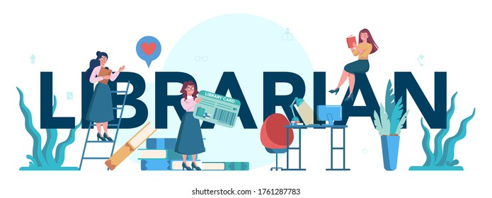 Librarian typographic header concept. Library staff holding and sorting book. Knowledge and education idea. Llibrary bookshelves guid. Isolated vector illustration